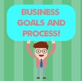Pisać nutowemu seansowi Biznesowych celach I procesie Biznesowa fotografia pokazuje Pracujące strategie osiąga celu mężczyzny royalty ilustracja