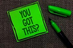Pisać nutowemu seansowi Ciebie Dostać Ten pytanie Biznesowy fotografii pokazywać Wierzy że ludzie ud się w robić obrazy stock