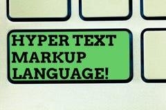 Pisać nutowemu seansowi Hiper- tekst marży języku Biznesowa fotografia pokazuje Standardowych języki dla tworzenia zdjęcia stock
