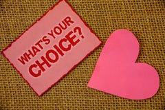 Pisać nutowemu seansowi Jaki S Twój Wyborowy pytanie Biznesowa fotografia pokazuje opci decyzję Wolał Poglądowej Preferansowej la Obrazy Royalty Free