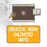Pisać nutowemu seansowi Kreatywnie umysle Nieograniczeni sposoby Biznesowa fotografia pokazuje twórczość przynosi udziały możliwo ilustracji