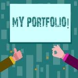 Pisać nutowemu seansowi Mój portfolio Biznesowa fotografia pokazuje próbki pracy sztuki rysunków fotografia Dwa biznesmena ilustracji