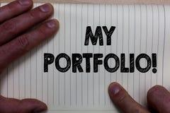 Pisać nutowemu seansowi Mój portfolio Motywacyjny wezwanie Biznesowa fotografia pokazuje próbki pracy sztuki rysunków fotografii  obraz stock