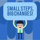 Pisać nutowemu seansowi Małych krokach Duże zmiany Biznesowy fotografii pokazywać Robi małym rzeczom osiągać wielkiego celu mężcz ilustracja wektor