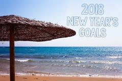 Pisać nutowemu seansowi 2018 nowy rok cele Biznesowa fotografia pokazuje postanowienie listę rzeczy ty chcesz dokonywać błękit pl Zdjęcie Stock
