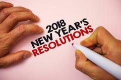 Pisać nutowemu seansowi 2018 nowy rok postanowieniach Biznesowa fotografia pokazuje listę cele lub cele być dokonującym markiera  Zdjęcia Stock