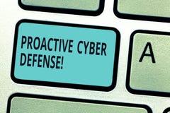 Pisać nutowemu seansowi Proaktywnie Cyber obronie Biznesowa fotografia pokazuje antycypację przeciwstawiać szturmowego zwijanie zdjęcie stock
