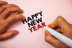 Pisać nutowemu seansowi Szczęśliwego nowego roku Biznesowa fotografia pokazuje gratulacje Wesoło Xmas everyone zaczynać Stycznia  obraz stock