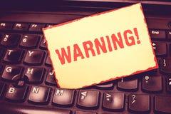 Pisać nutowy pokazuje Ostrzegać Biznesowa fotografia pokazuje oświadczenie lub wydarzenie który ostrzegają coś lub słuzyć jako pr obrazy royalty free