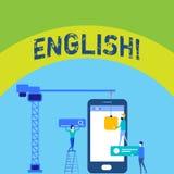 Pisać nutowych pokazuje angielszczyznach Biznesowa fotografia pokazuje Związany z Anglia swój ludzi lub ich języka personelu dzia ilustracja wektor