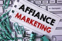 Pisać nutowym pokazuje Affiance marketingu Biznesowa fotografia pokazuje łączący dwa lub więcej firmy w to samo odpowiada wspólne Zdjęcie Royalty Free