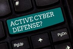 Pisać nutowym pokazuje Aktywnym Cyber Defensequestion Biznesowa fotografia pokazuje postępować w antycypacji przeciwstawiać ataka zdjęcie royalty free