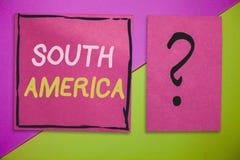 Pisać nutowym pokazuje Ameryka Południowa Biznesowa fotografia pokazuje kontynent w zachodnia półkula latynosach znać dla obrazy stock