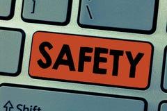 Pisać nutowym pokazuje bezpieczeństwie Biznesowa fotografia pokazuje warunek ochraniający od nieprawdopodobnego powodować niebezp zdjęcie stock