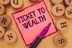 Pisać nutowym pokazuje bilecie bogactwo Biznesowa fotografia pokazuje koło pomyślności przejście Pomyślny i jaskrawy zdjęcie stock