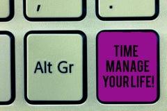 Pisać nutowym pokazuje czasie Kieruje Twój życie Biznesowa fotografia pokazuje Dobry planować dla codziennych lub pracy aktywność obraz stock