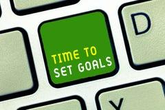 Pisać nutowym pokazuje czasie Ustawiać cele Biznesowa fotografia pokazuje Pragnący Obiektywnego Chciał osiągać w przyszłości fotografia stock