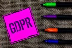 Pisać nutowym pokazuje GDPR Biznesowa fotografia pokazuje Ogólnych dane ochrony prywatności eu praw zgodności markiera piór Przep Fotografia Royalty Free