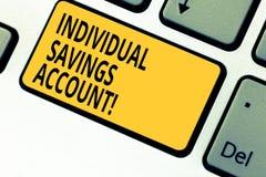 Pisać nutowym pokazuje Indywidualnym oszczędzania koncie Biznesowa fotografia pokazuje oszczędzania konto oferował w Zjednoczone  zdjęcia stock
