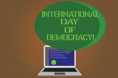 Pisać nutowym pokazuje Międzynarodowym dniu demokracja Biznesowa fotografia pokazuje odświętność prawo głosu wokoło ilustracji