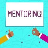 Pisać nutowym pokazuje obowiązki mentora Biznesowa fotografia pokazuje dawać rada lub poparciu młody mniej doświadczony royalty ilustracja