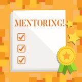Pisać nutowym pokazuje obowiązki mentora Biznesowa fotografia pokazuje dawać rada lub poparciu młody mniej doświadczony ilustracji