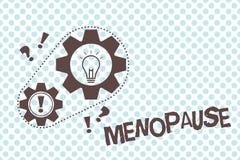 Pisać nutowym pokazuje przekwitaniu Biznesowa fotografia pokazuje zaprzestanie miesiączek Starych kobiet hormonalnych zmian okres ilustracja wektor