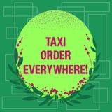 Pisać nutowym pokazuje taxi rozkazie Wszędzie Biznesowa fotografia pokazuje najętą taksówkę nieść pasażera swój desygnata Pusty k ilustracji