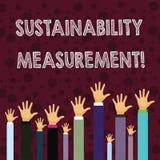Pisać nutowym pokazuje trwałość pomiarze Biznesowa fotografia pokazuje miarę środowiskowego ekonomiczna i socjalny ilustracja wektor