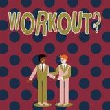 Pisać nutowym pokazuje Workoutquestion Biznesowa fotografia pokazuje aktywność dla wellness bodybuilding szkolenia ćwiczyć royalty ilustracja