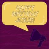 Pisać nutowym pokazuje wszystkiego najlepszego z okazji urodzin Jezus Biznesowa fotografia pokazuje Świętujący narodziny święty b ilustracji