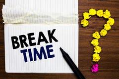 Pisać nutowym seans przerwy czasie Biznesowa fotografia pokazuje okres odpoczynek lub odtwarzanie po robić pewny praca notatnika  obraz stock