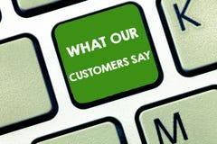 Pisać nutowym seansie Co Mówją Nasz klienci Biznesowa fotografia pokazuje znać użytkownik informacje zwrotne konsument reakcje obraz royalty free