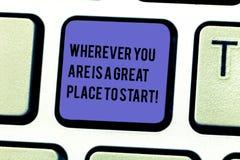 Pisać nutowym seansie Jest Great Place Zaczynać Gdziekolwiek Ty Jesteś Biznesowa fotografia pokazuje Zaczynać dzisiaj jutro obraz royalty free