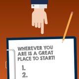 Pisać nutowym seansie Jest Great Place Zaczynać Gdziekolwiek Ty Jesteś Biznesowa fotografia pokazuje Zaczynać dzisiaj jutro Hu an zdjęcia royalty free