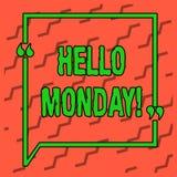 Pisać nutowym seansie Poniedziałek Cześć Biznesowy fotografii pokazywać wskazuje zaczynać świeży nowy tydzień wita je z uśmiechem ilustracji