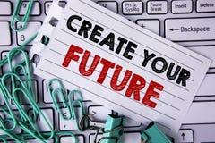 Pisać nutowym seansie Tworzy Twój przyszłość Biznesowa fotografia pokazuje kariera celów celów ulepszenia set planuje uczenie pis Zdjęcia Stock