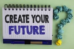 Pisać nutowym seansie Tworzy Twój przyszłość Biznesowa fotografia pokazuje kariera celów celów ulepszenia set planuje uczenie pis Obrazy Stock