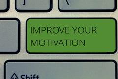 Pisać nutowym seansie Ulepsza Twój motywację Biznesowa fotografia pokazuje zwiększenie twój jaźni przejażdżka Uwydatnia motywy i  zdjęcia stock