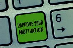 Pisać nutowym seansie Ulepsza Twój motywację Biznesowa fotografia pokazuje zwiększenie twój jaźni przejażdżka Uwydatnia motywy i  obraz stock