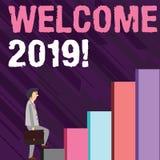 Pisać nutowym seansie Wita 2019 Biznesowa fotografia pokazuje przykład lub analysisners powitanie someone lubimy nowego roku ilustracja wektor