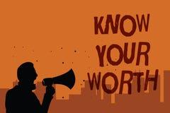 Pisać nutowym seansie Zna Twój Worth Biznesowy fotografii pokazywać Był świadomy osobista wartość Zasługujący dochód korzyści męż obrazy royalty free