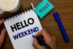 Pisać nutowym seansu weekendzie Cześć Biznesowa fotografia pokazuje wjazd przygody Piątku Positivity relaksu zaproszenie fotografia stock