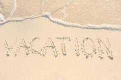 pisać piaska plażowy wakacje Zdjęcia Royalty Free