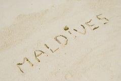pisać plażowi Maldives Zdjęcie Stock