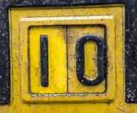 Pisać sformułowania w Zakłopotana typografia Znajdującej stan liczbie 10 Dziesięć Zdjęcia Stock