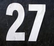 Pisać sformułowania w Zakłopotanym stanie typografia Znajdująca liczba 27 Dwadzieścia siedem Obraz Stock