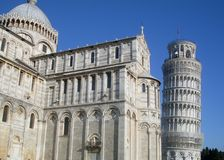 Pisa. Leaning tower of pisa and baptistery Royalty Free Stock Photo