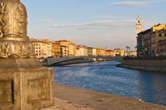 Pisa. Old architecture and river Arno , Pisa, Italy Stock Photos