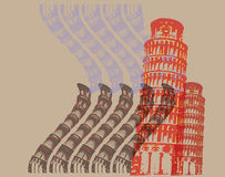 Pisa. Poster shows the famous tower Stock Image